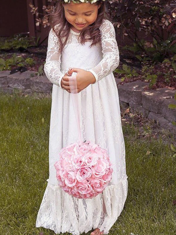 A-Line/Princess Jewel Lace Long Sleeves Floor-Length Flower Girl Dresses