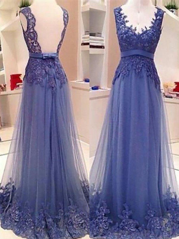 A-Line/Princess V-neck Tulle Sleeveless Floor-Length Dresses