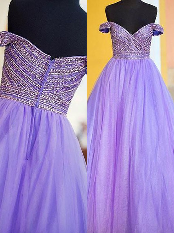 Ball Gown Off-the-Shoulder Tulle Sleeveless Floor-Length Dresses