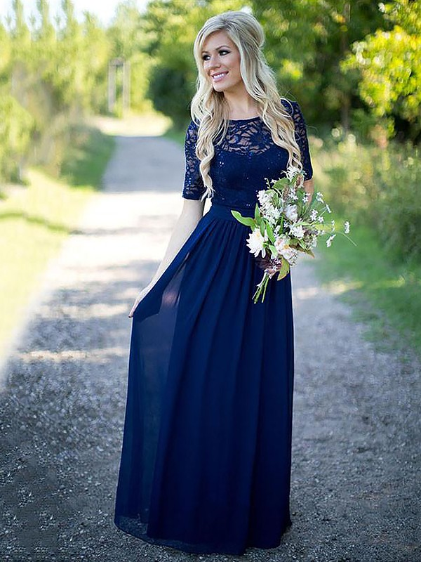 A-Line/Princess Scoop Chiffon 1/2 Sleeves Floor-Length Bridesmaid Dresses