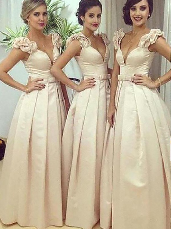 A-Line/Princess Straps Satin Sleeveless Floor-Length Bridesmaid Dresses