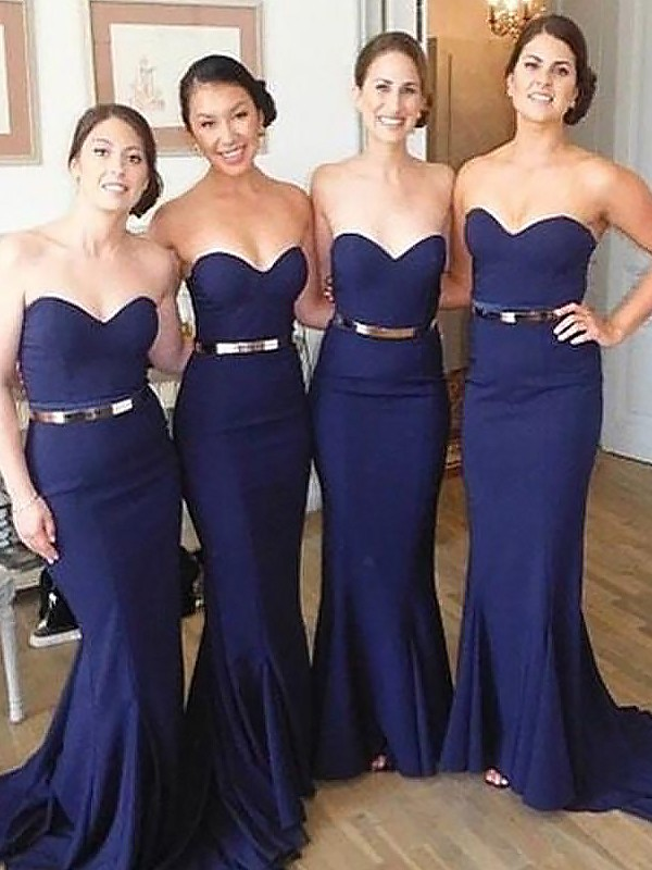 Trumpet/Mermaid Sweetheart Satin Sleeveless Sweep/Brush Train Bridesmaid Dresses