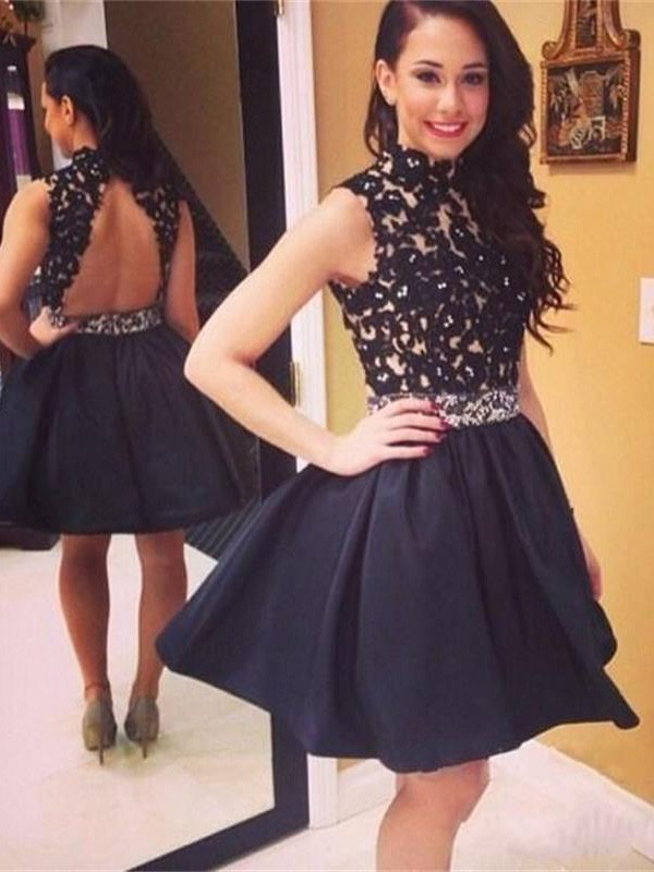 A-line/Princess High Neck Taffeta Sleeveless Short/Mini Homecoming Dresses