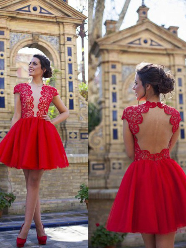 A-line/Princess Scoop Tulle Short Sleeves Short/Mini Homecoming Dresses