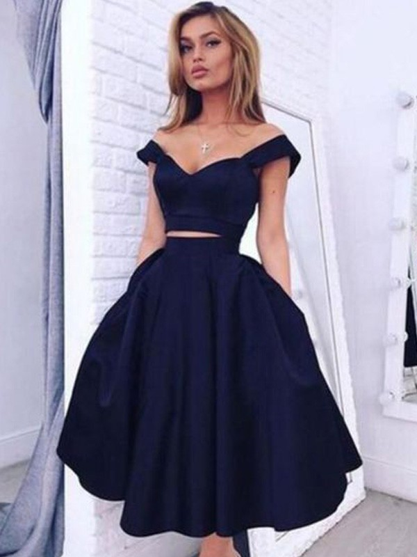 A-line/Princess Off-the-Shoulder Satin Sleeveless Tea-Length Homecoming Dresses