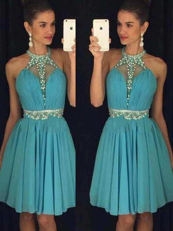 A-line/Princess Halter Chiffon Sleeveless Short/Mini Homecoming Dresses