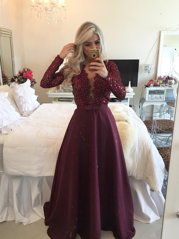 A-Line/Princess Scoop Satin Long Sleeves Floor-Length Prom Dresses