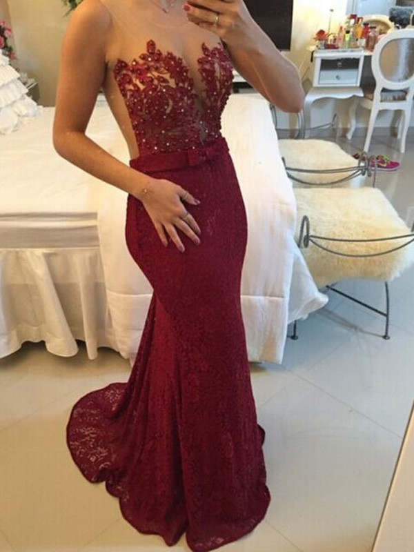 Sheath/Column Scoop Lace Sleeveless Sweep/Brush Train Prom Dresses