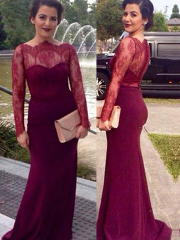 Sheath/Column Scoop Chiffon Long Sleeves Floor-Length Prom Dresses