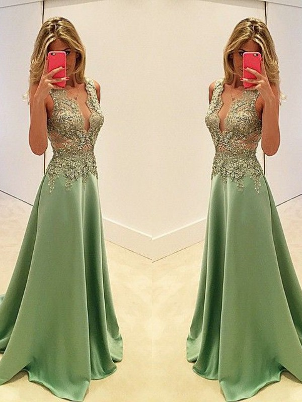 A-Line/Princess V-neck Satin Sleeveless Floor-Length Prom Dresses