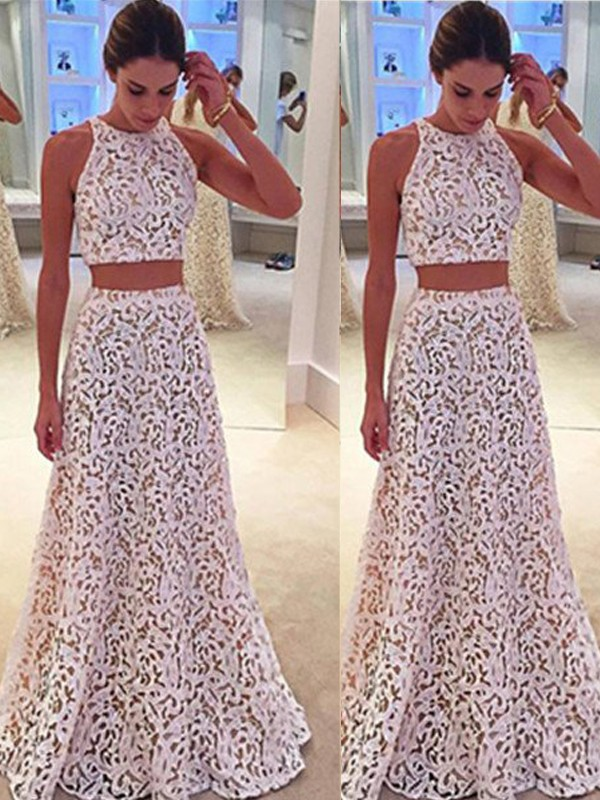 A-Line/Princess Scoop Lace Sleeveless Floor-Length Two Piece Prom Dresses