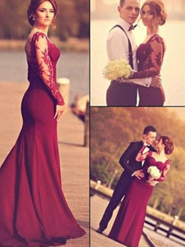 Trumpet/Mermaid Sweetheart Satin Long Sleeves Sweep/Brush Train Prom Dresses