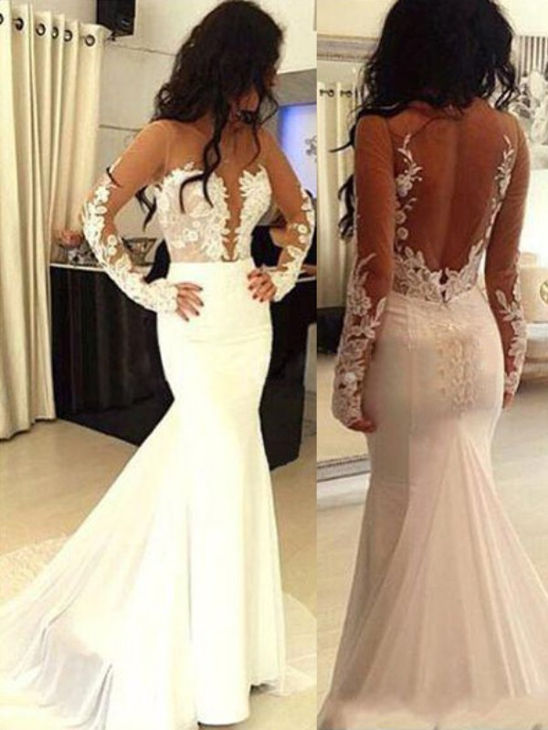 Trumpet/Mermaid Scoop Chiffon Long Sleeves Sweep/Brush Train Prom Dresses