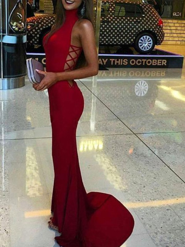 Trumpet/Mermaid High Neck Spandex Sleeveless Sweep/Brush Train Prom Dresses