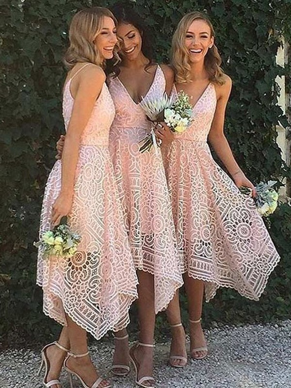 A-Line/Princess V-neck Lace Sleeveless Asymmetrical Bridesmaid Dresses