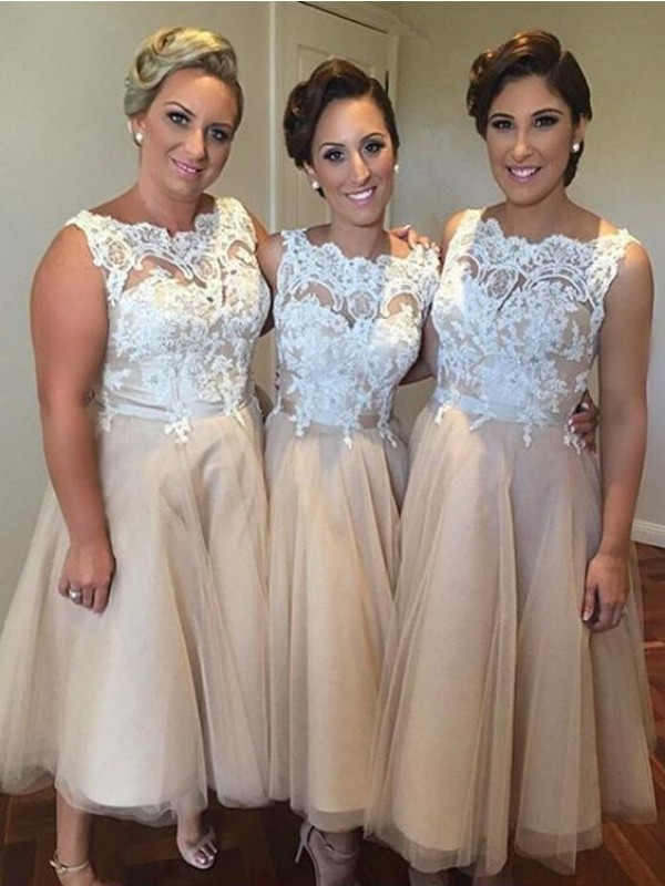 A-Line/Princess Sweetheart Tulle Sleeveless Knee-Length Bridesmaid Dresses