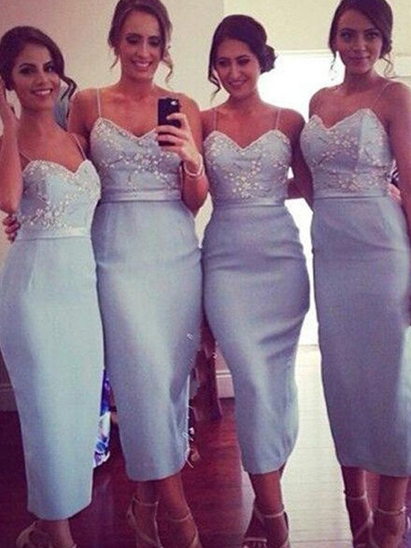 Sheath/Column Spaghetti Straps Satin Sleeveless Knee-Length Bridesmaid Dresses