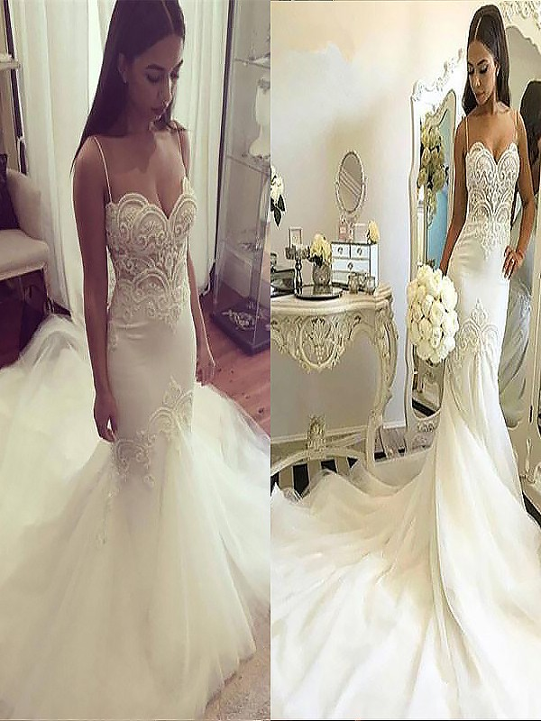 Trumpet/Mermaid Spaghetti Straps Tulle Sleeveless Chapel Train Wedding Dresses