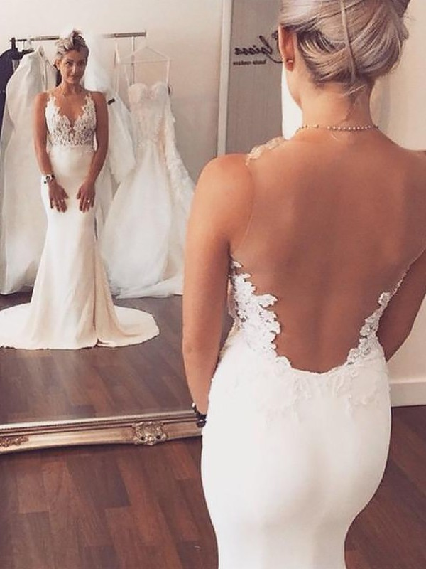 Trumpet/Mermaid Scoop Spandex Sleeveless Court Train Wedding Dresses