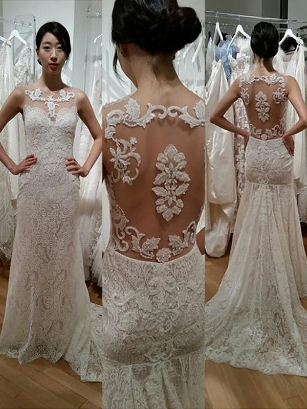 Trumpet/Mermaid Scoop Lace Sleeveless Sweep/Brush Train Wedding Dresses