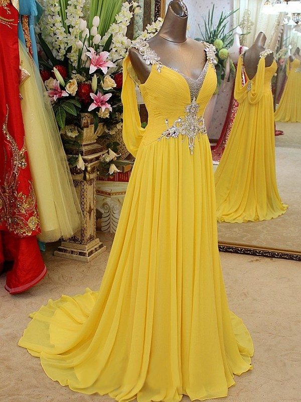 A-Line/Princess Straps Chiffon Sleeveless Sweep/Brush Train Prom Dresses