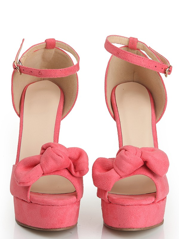 Women's Peep Toe Suede Stiletto Heel Platform With Knot Platforms Shoes