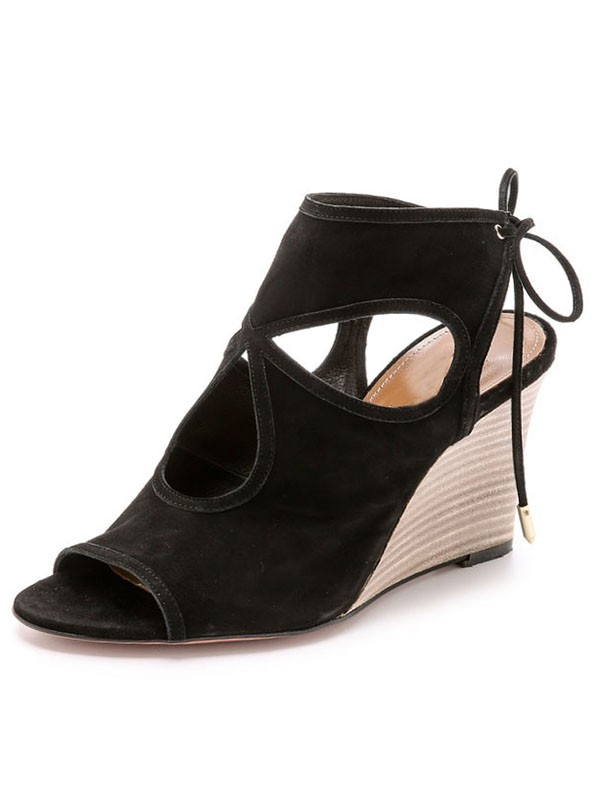 Women's Wedge Heel Suede Peep Toe With Lace-up Sandal Ankle Black Boots