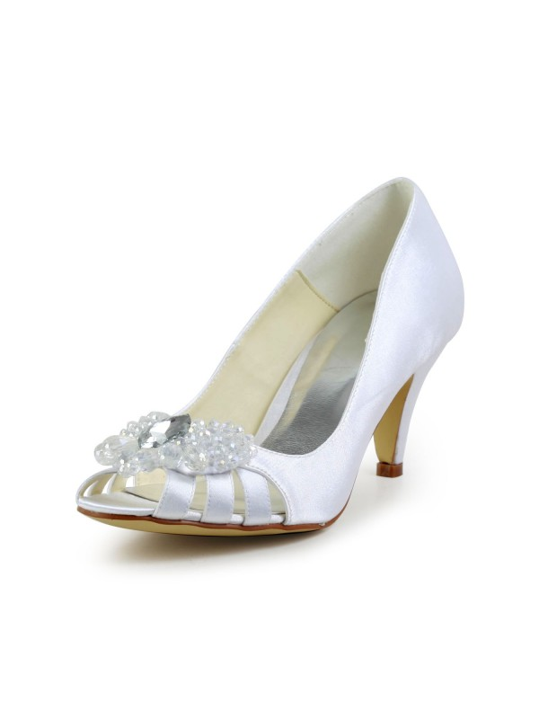 Women's Satin Cone Heel Peep Toe Sandals White Wedding Shoes With Hollow-out