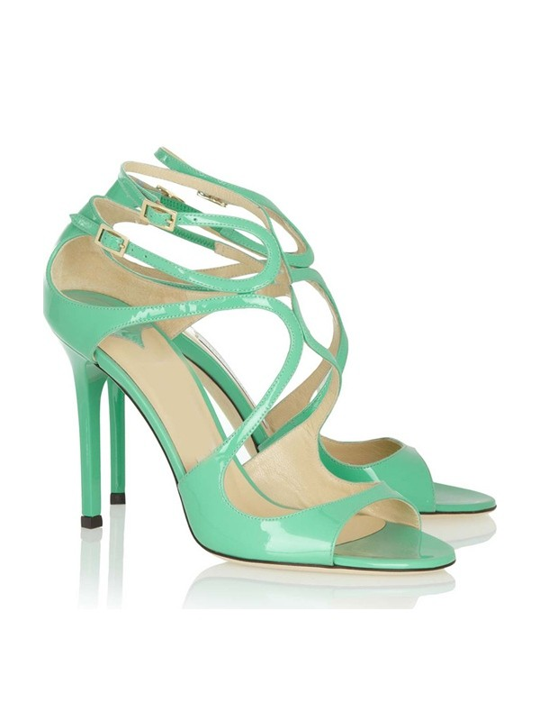 Women's Peep Toe Stiletto Heel Patent Leather With Buckle Sandals Shoes