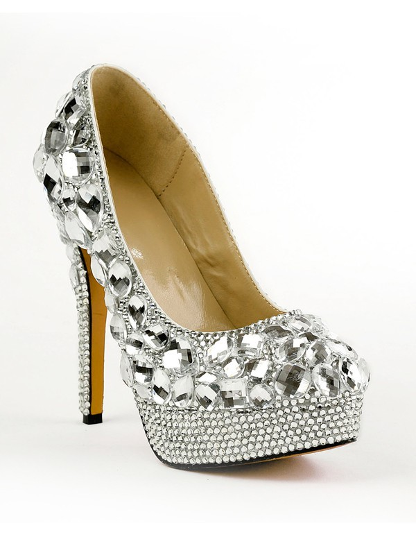 Women's Closed Toe Stiletto Heel Platform Platforms Shoes With Rhinestones