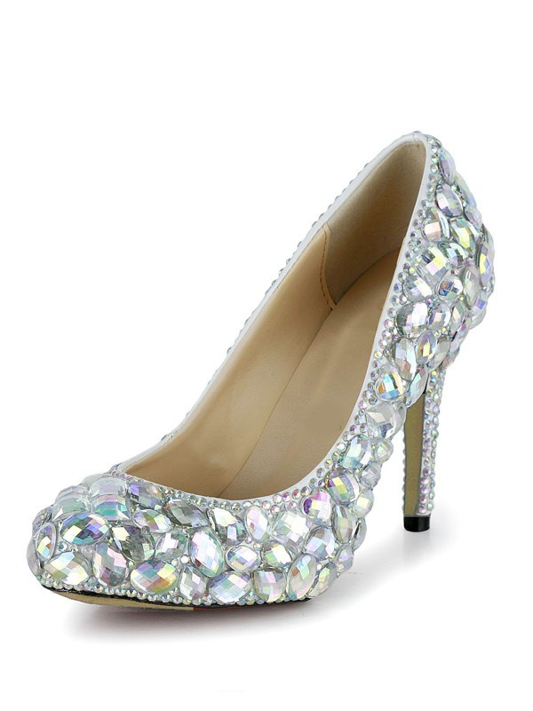 Women's Stiletto Heel Patent Leather Closed Toe With Rhinestone High Heels