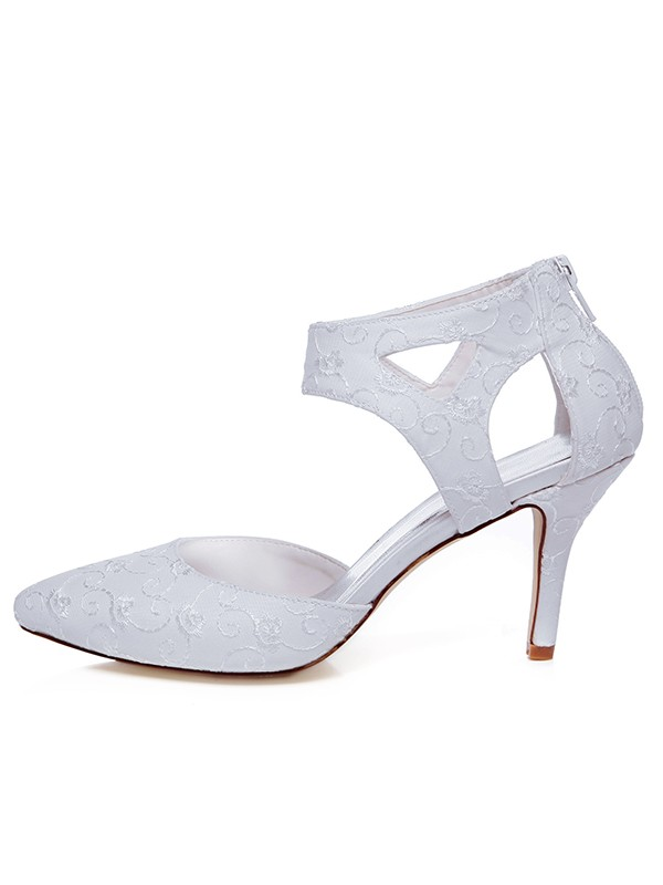 Women's Satin Closed Toe Spool Heel Zipper Wedding Shoes