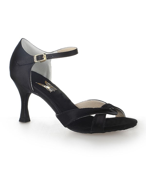 Women's Satin Peep Toe Stiletto Heel Buckle Dance Shoes